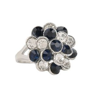 NWT BEAUTIFUL!  Black & White Crystal Ring